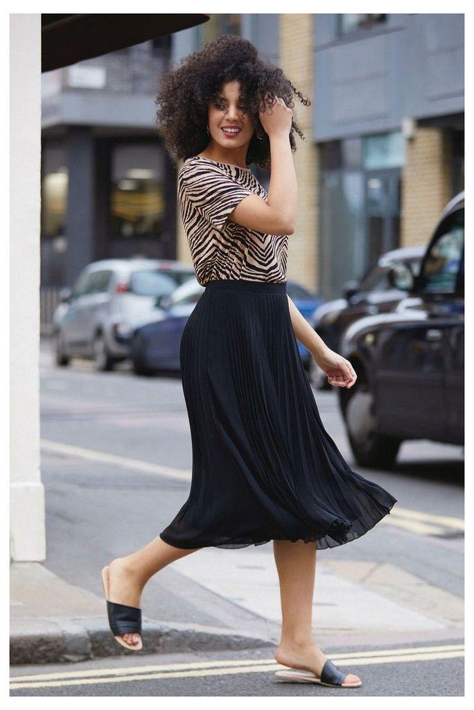 Womens Oasis Black Pleated Skirt -  Black