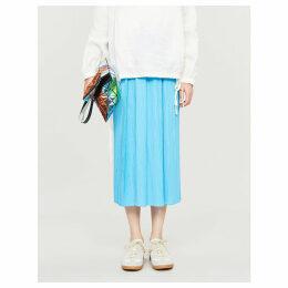 Moncol high-waist pleated midi skirt