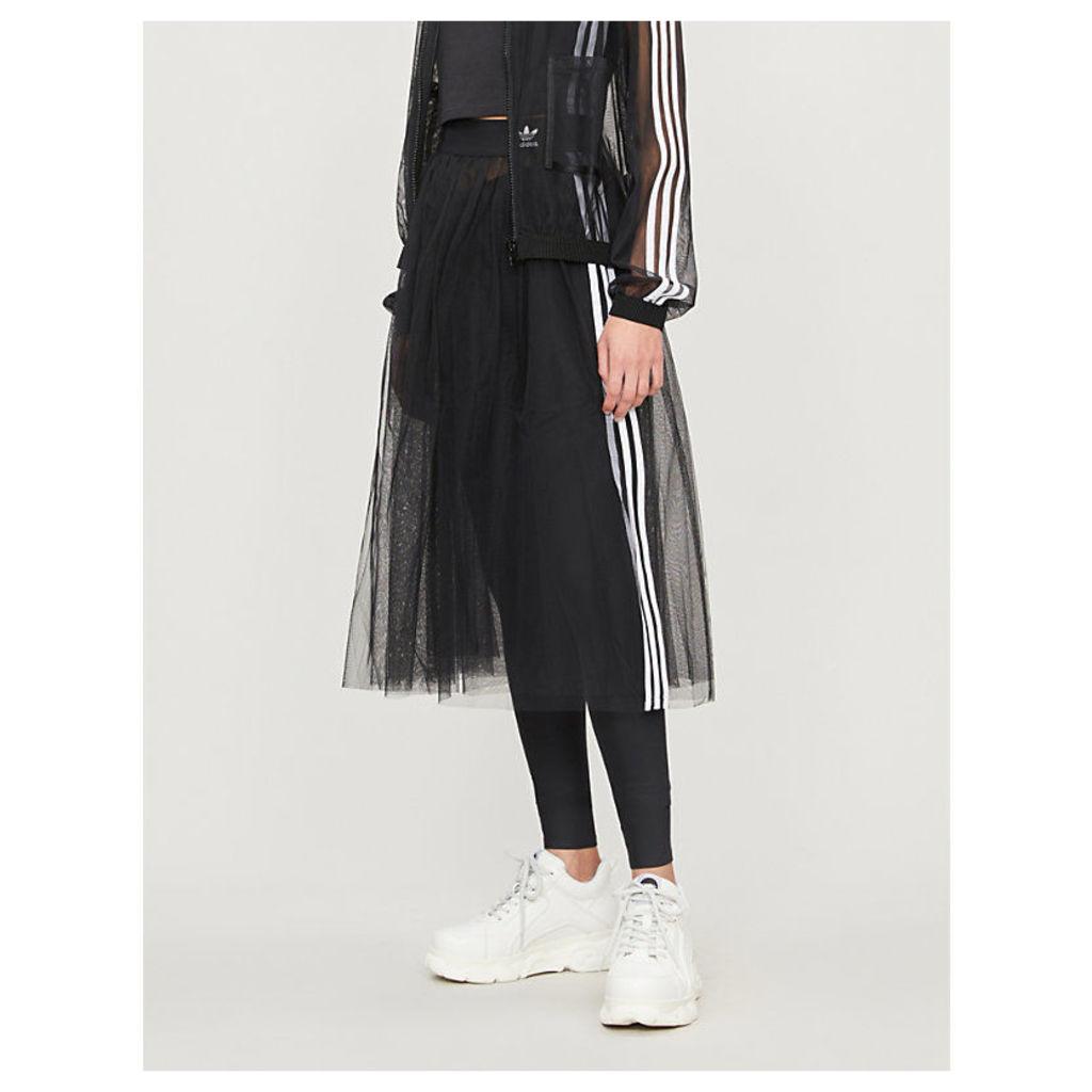 3-stripe semi-sheer tulle midi skirt