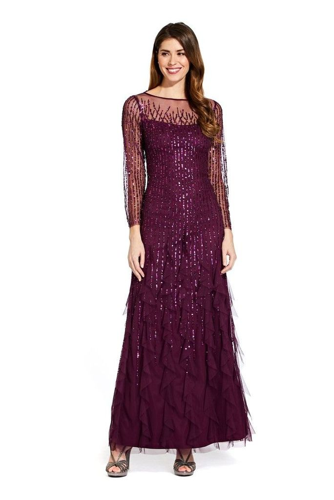 Womens Adrianna Papell Purple Beaded Long Dress -  Purple