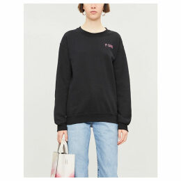 'IT GIRL' embroidered cotton-blend sweatshirt