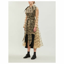 Text-print sheer silk trench coat