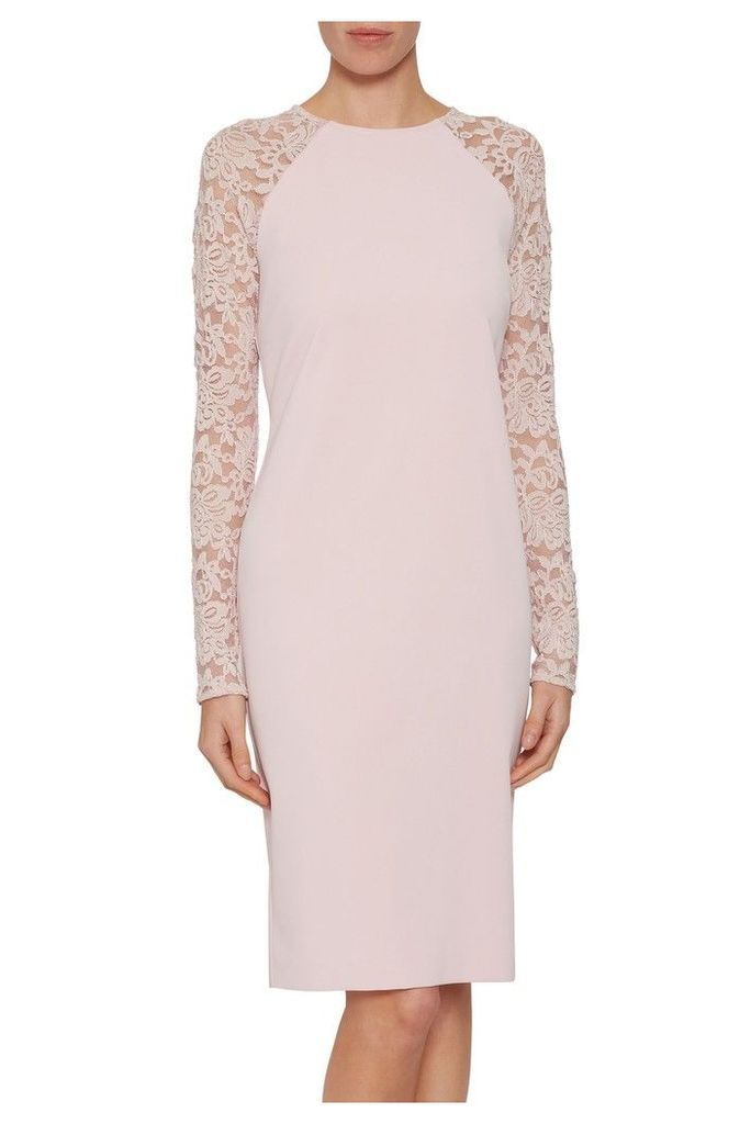 Womens Gina Bacconi Pink Tristine Crepe Dress With Lace Sleeve -  Pink