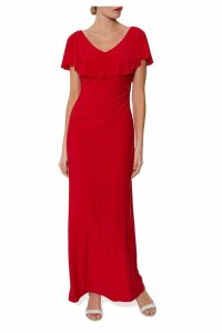 Womens Gina Bacconi Red Bellina Maxi Dress With Frill Neckline -  Red