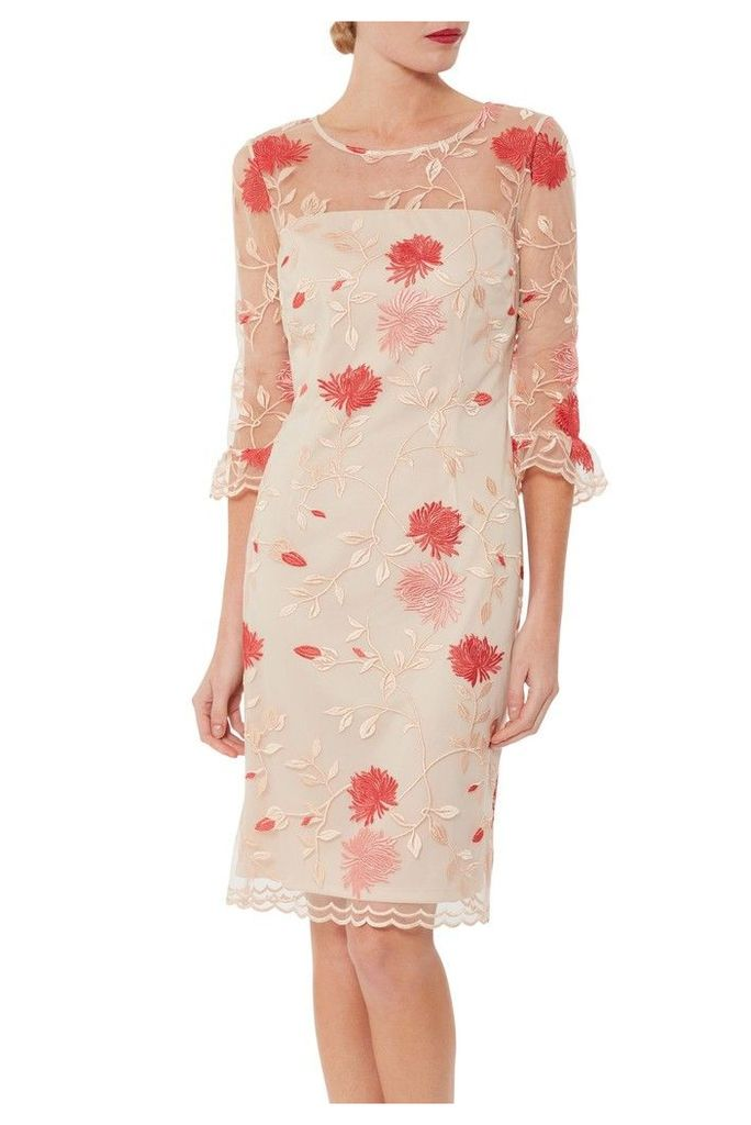 Womens Gina Bacconi Pink Annie Embroidered Dress -  Pink