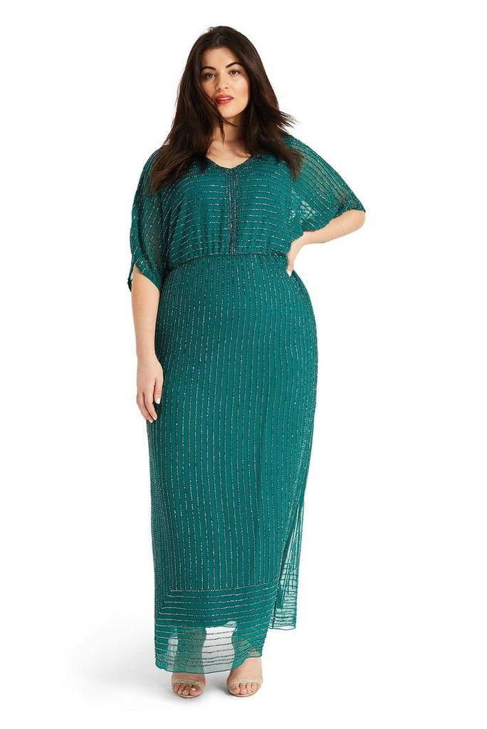 Womens Studio 8 Green Hera Beaded Maxi Dress -  Green