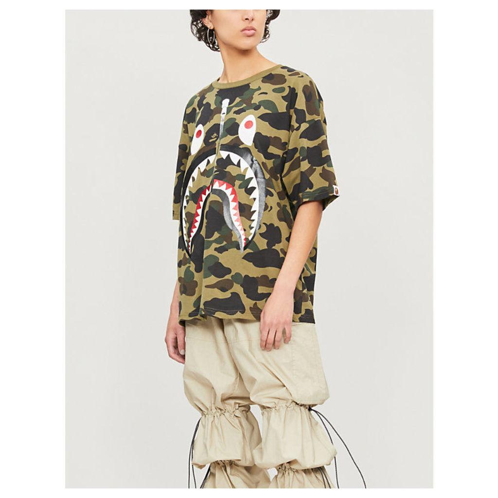 Camouflage shark cotton-blend T-shirt