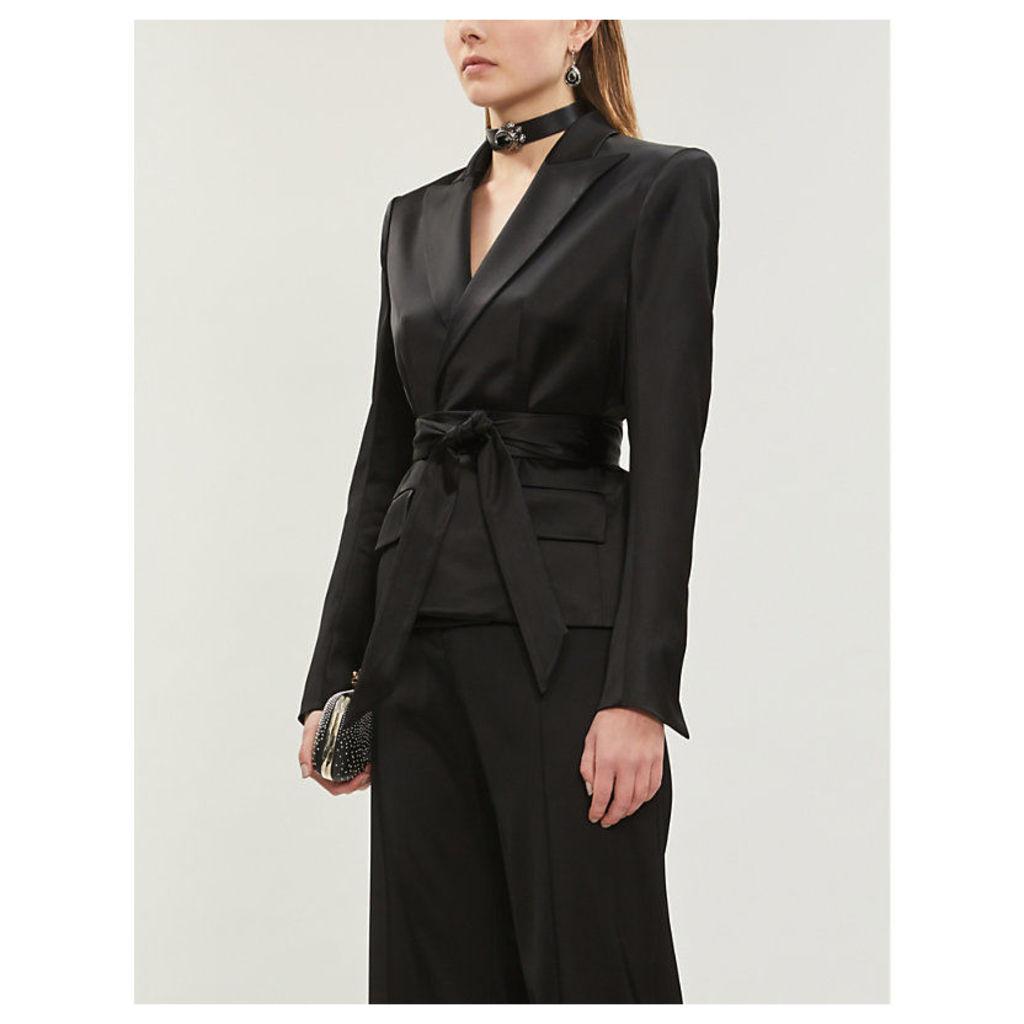 Padded-shoulder long-sleeved satin blazer
