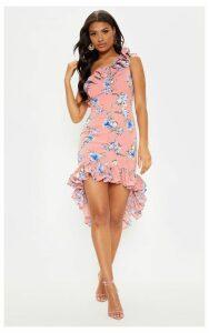 Pink Floral Print One Shoulder Midi Dress, Pink