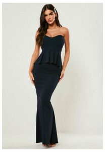 Bridesmaid Navy Sweetheart Bandeau Peplum Maxi Dress, Navy
