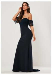 Bridesmaid Navy Bardot Lace Detail Fishtail Maxi Dress, Navy
