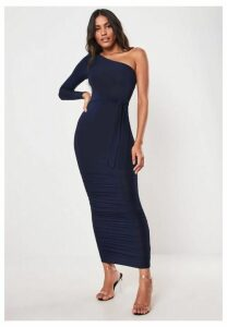 Navy One Shoulder Slinky Bodycon Ruched Midaxi Dress, Navy