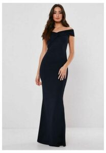 Bridesmaid Navy Bardot Twist Front Maxi Dress, Navy