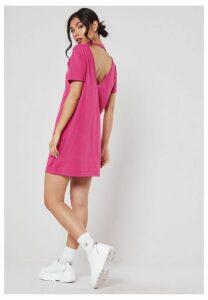Pink Basic V Back T Shirt Dress, Neon Pink