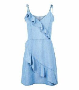 Brave Soul Pale Blue Denim Ruffle Dress New Look