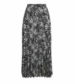 Black Mixed Animal Print Pleated Midi Skirt New Look