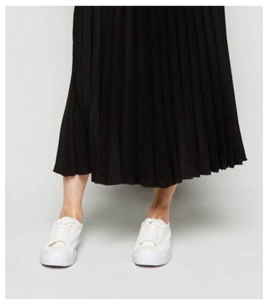Petite Black Pleated Midi Skirt New Look