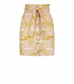 Pink Animal Print Linen Blend Paperbag Skirt New Look