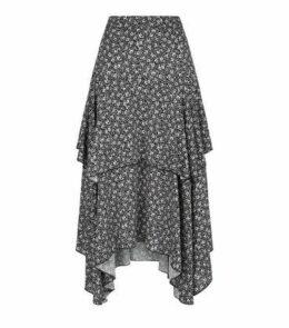 Black Ditsy Floral Hanky Hem Midi Skirt New Look