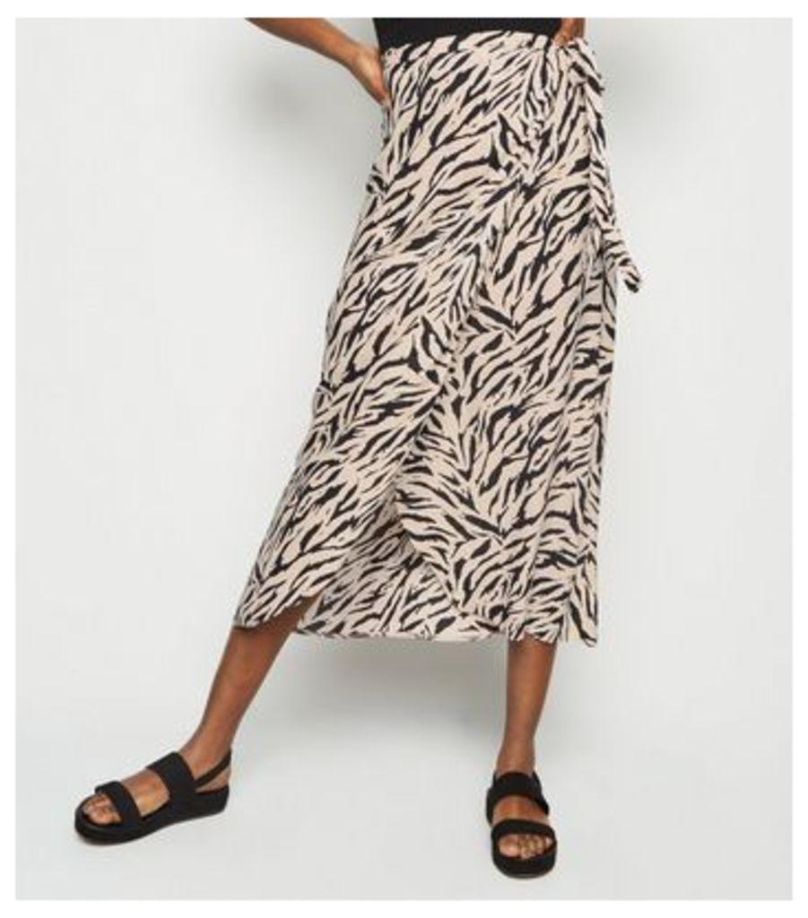 Tall Black Zebra Print Tie Side Midi Skirt New Look