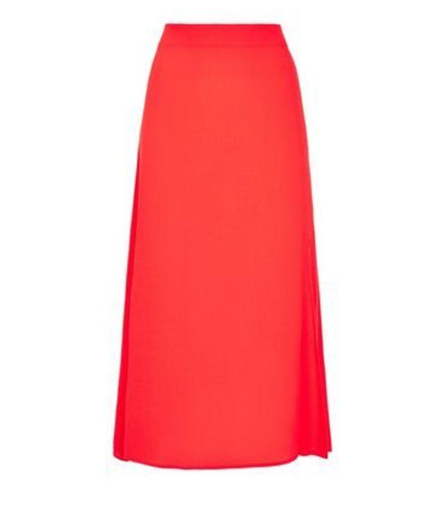 Red Split Side Midi Skirt New Look