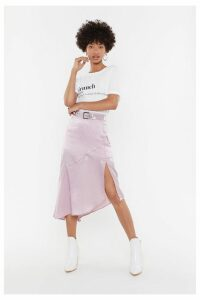 Worried Slick Satin Midi Skirt
