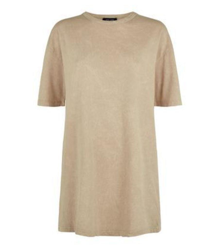 Cream Acid Wash Oversized T-Shirt New Look