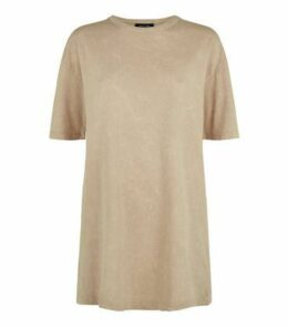Cream Acid Wash Oversized T-Shirt New Look