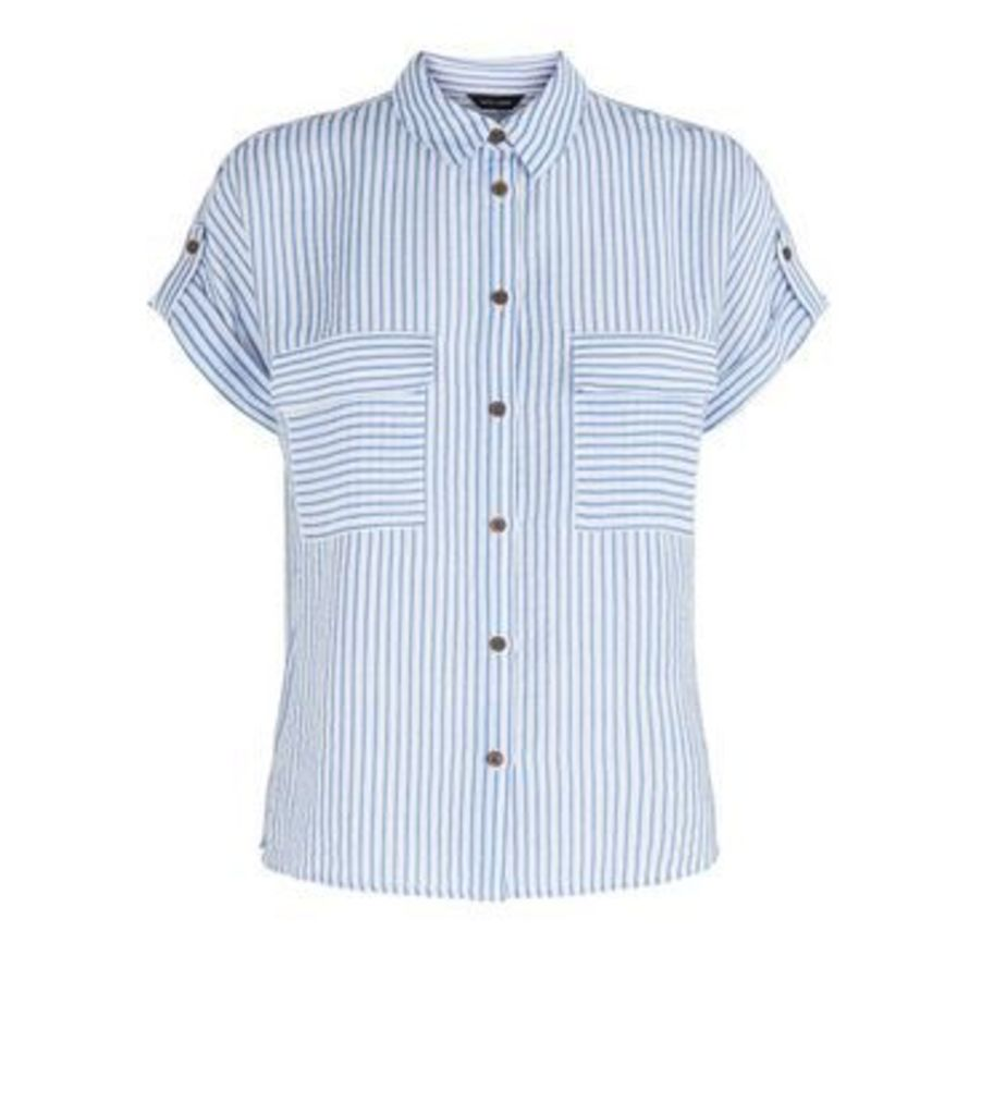 Blue Stripe Button Up Double Pocket Shirt New Look