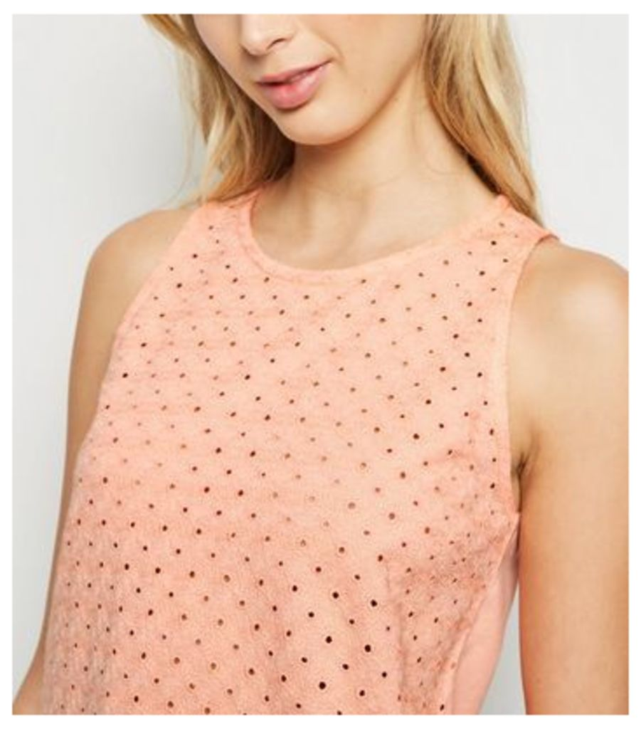 Coral Broderie Tank Top New Look