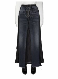 Drawcord jeans panelled skirt