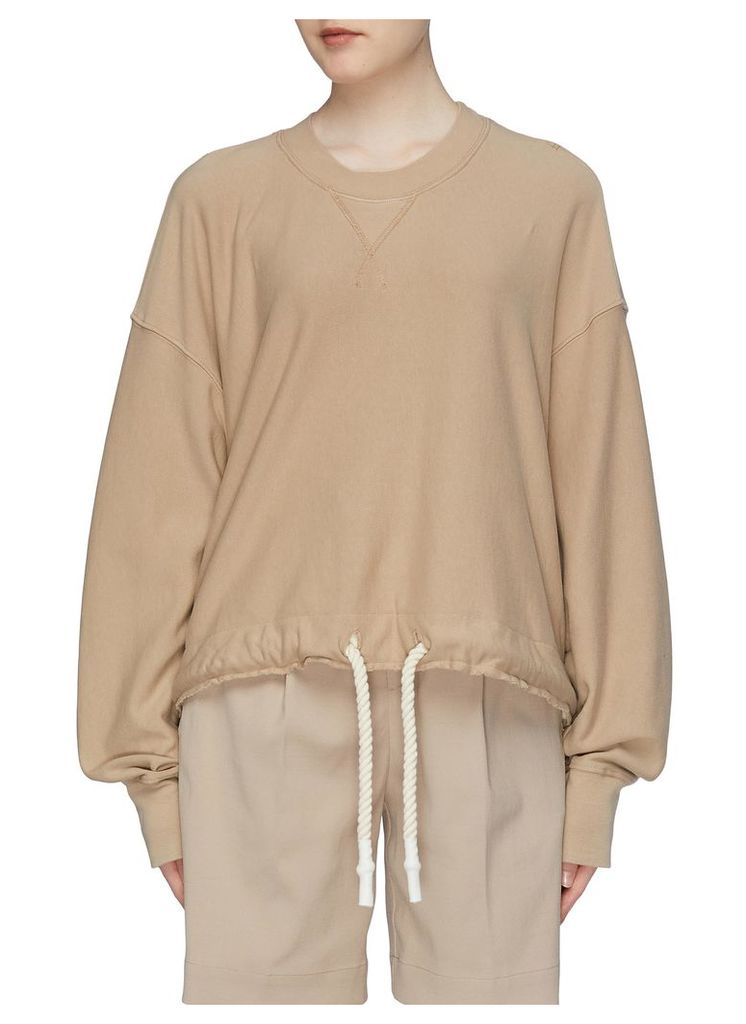Drawstring hem cropped organic cotton sweatshirt