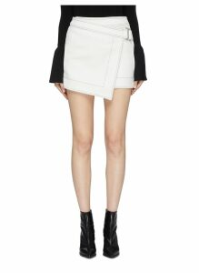 'E-Hook' buckle overlay contrast topstitching crepe skirt
