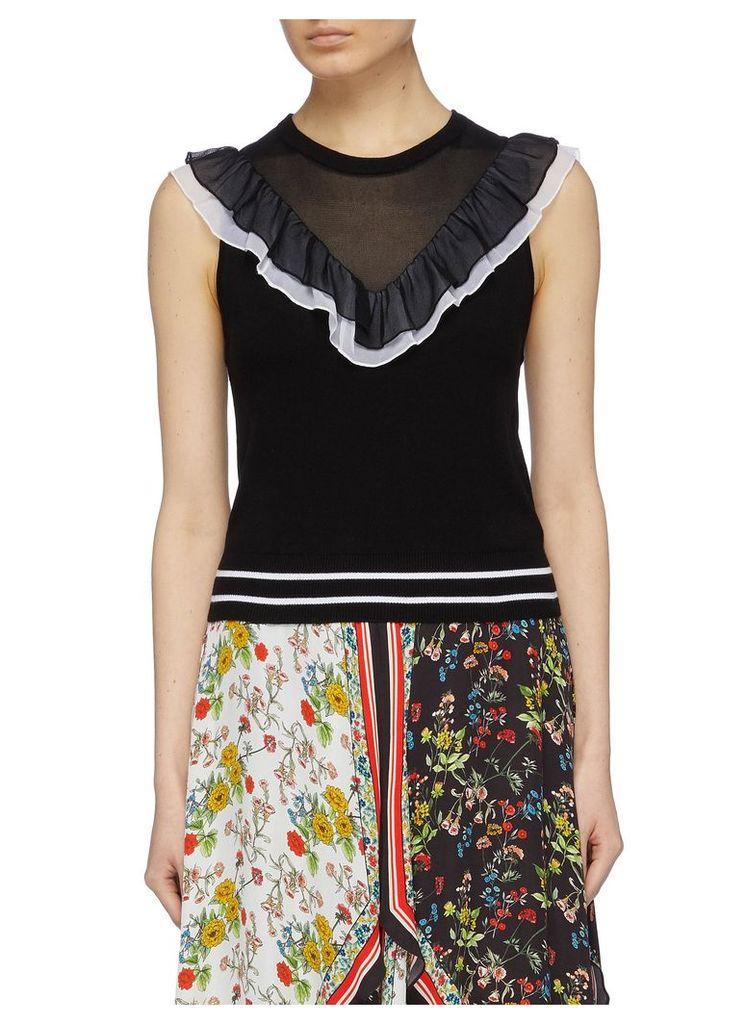 'Diora' ruffle mesh yoke knit sleeveless top