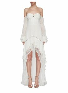 Tie gathered sleeve tiered off-shoulder silk chiffon high-low gown