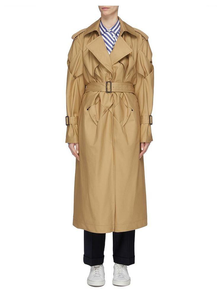 Belted lattice sleeve trench coat
