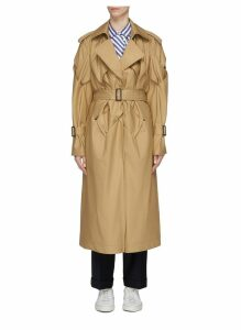 Belted lattice sleeve trench coat
