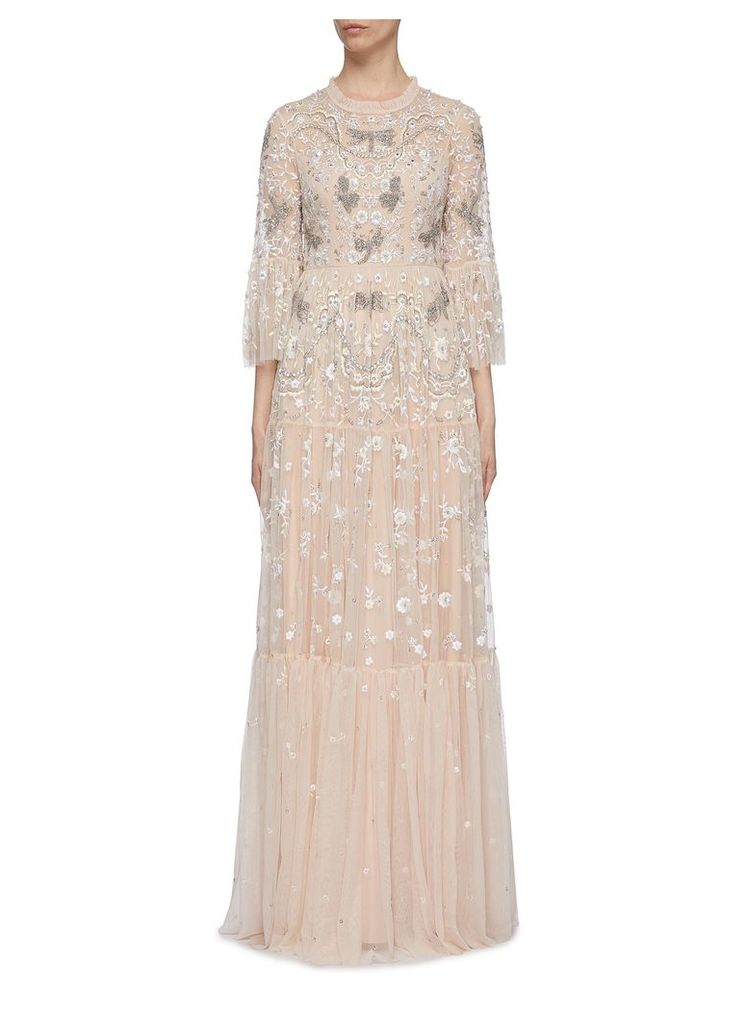 'Dragonfly Garden' embellished floral embroidered tiered maxi dress