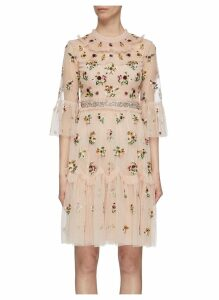 'Magdalena' ruffle yoke tiered floral embroidered tulle dress