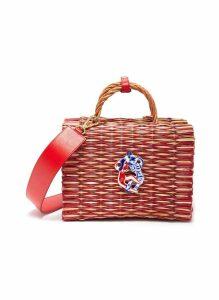 'Amor Pequeño' talisman medium woven reed top handle bag