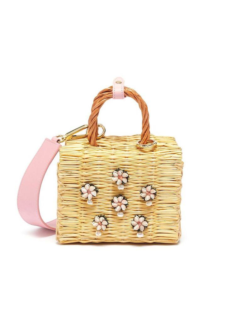 'Shella' faux pearl seashell embellished woven reed top handle bag