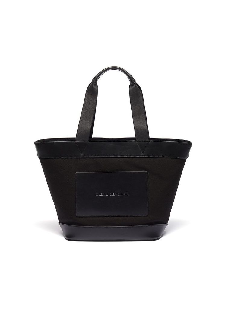 Leather border large canvas tote