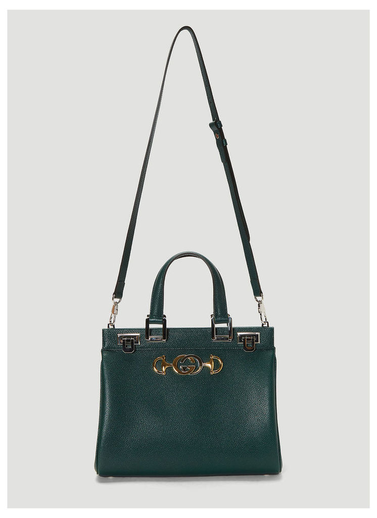 Gucci Zumi Top Handle Small Leather Bag in Green size One Size