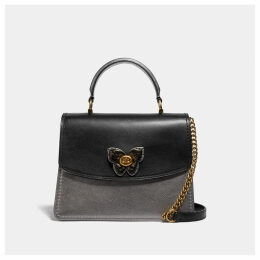 Coach Parker Top Handle With Butterfly Turnlock And Snakeskin Detail