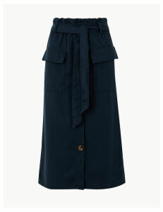 M&S Collection Midi A-Line Skirt with Cotton