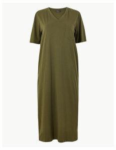 M&S Collection Pure Cotton Patch Pocket T-Shirt Midi Dress