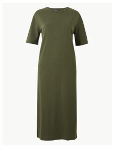 M&S Collection Pure Cotton Patch Pocket T-Shirt Midi Dress