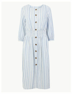 M&S Collection Cotton Blend Striped Waisted Midi Dress