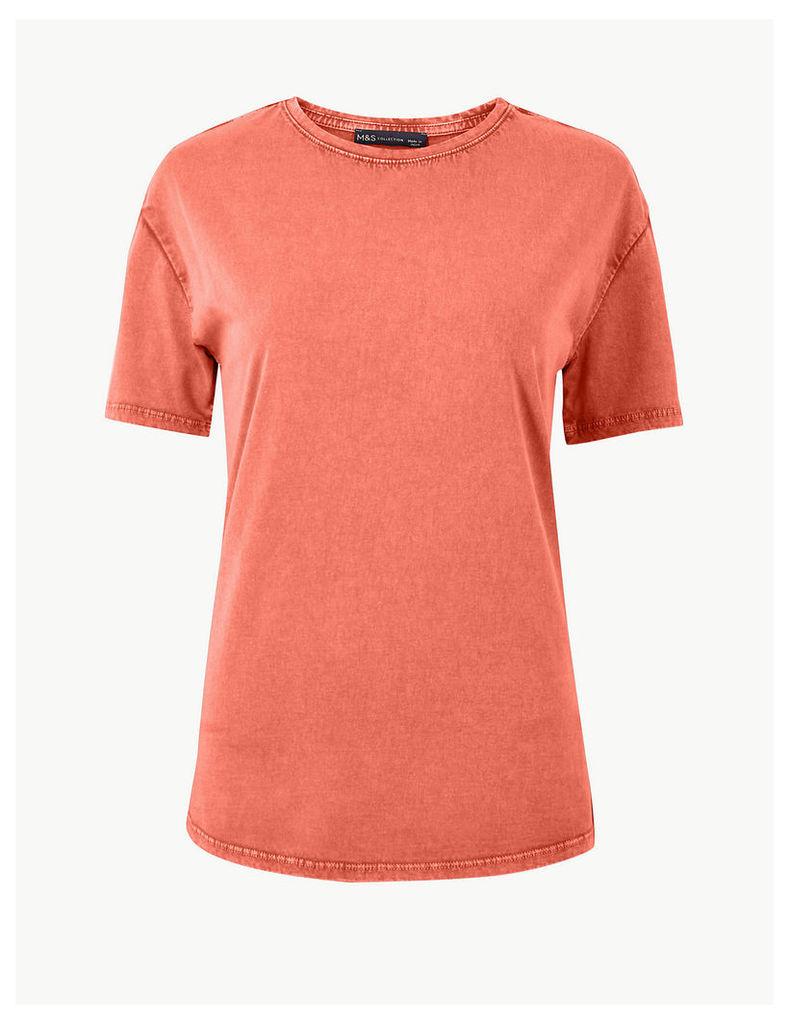 M&S Collection Vintage Wash Pure Cotton T-Shirt