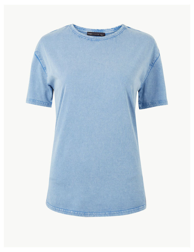 M&S Collection Vintage Wash Pure Cotton T-Shirt